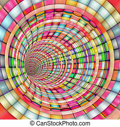 tunnel pipe striped in rainbow color