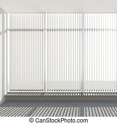 window vertical fabric blinds 3d render