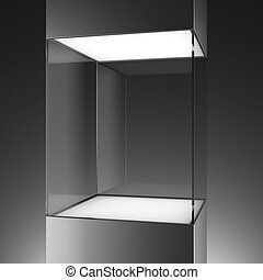 glass showcase isolated on a black background