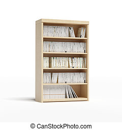 white bookcase with books  isolated on a white background