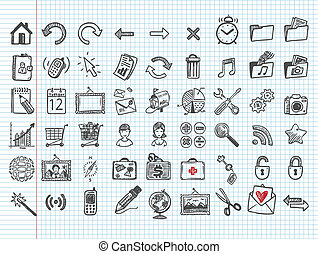 set of 54 doodle icons Stock Vecto - set of 54 doodle icons...