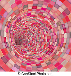 mosaic tile tunnel pipe in pink red