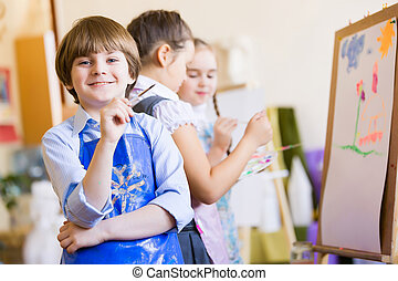 Children drawing and painting - Little children painting and...