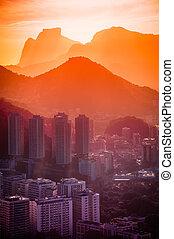 Rio De Janeiro - Cityscape with mountain range in the...