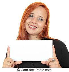 woman holding up copy space - Portrait of a beautiful young...