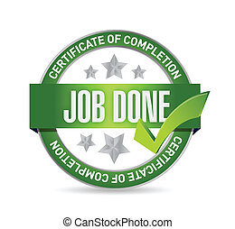 job done seal illustration design over a white background