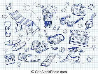 ensemble, doodles, vacances