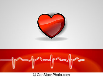 heart health - heart on the grea background with the cardio...