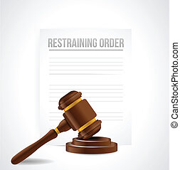 restraining order documents illustration design over white