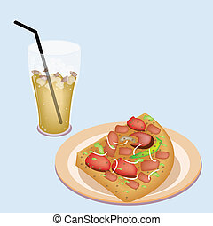Delicious Sliced Pizza on Dish with Lemon Iced Tea - An...