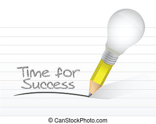 time for success written on a notepad paper