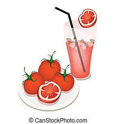 A Glass of Tomatoes Juice with Tomatoes