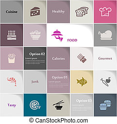 Food icon set vector abstract background
