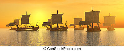 Ancient Roman Warships - Computer generated 3D illustration...