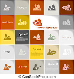 Human resources icon set vector abstract background