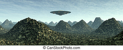 Alien Planet with Alien Spaceship - Computer generated 3D...