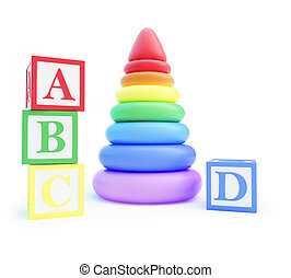 pyramid toy and alphabet blocks on a white background