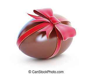 chocolate egg with bow on a white background
