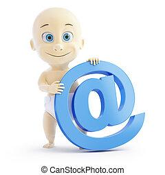 bebê, correio,  3D, mercado de Zurique, sinal