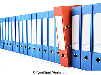 office folders, binder 3d Illustrations on a white...