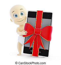 baby smart phone gift on a white background