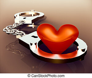 Love heart in handcuffs - conceptual illustration about...