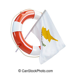 Cyprus flag in rescue circle, lifebuoy, life buoy on a white...