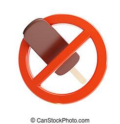 señal, prohibición, hielo, crema, 3D,...