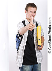 school time - happy schoolboy on white background