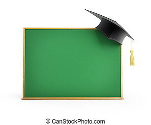 blackboard, chalkboard, graduation cap 3d Illustrations on a...