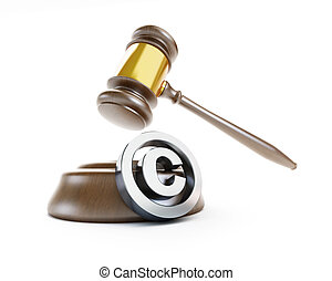 law copyright sign on a white background - law copyright...