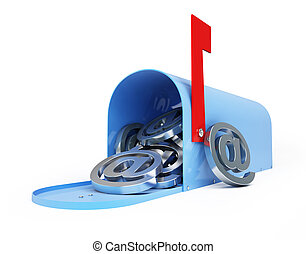 mailbox e-mail, email, spam 3d Illustrations on a white...