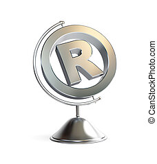 globe registered trademark sign 3d Illustrations on a white...