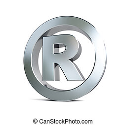 registered trademark sign 3d Illustrations on a white...