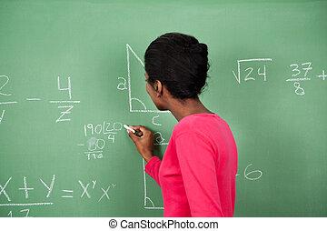 hembra, profesor, el solucionar, matemáticas, en,...