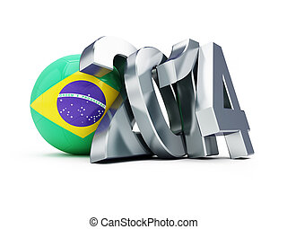 Brazilian football 2014 on a white background