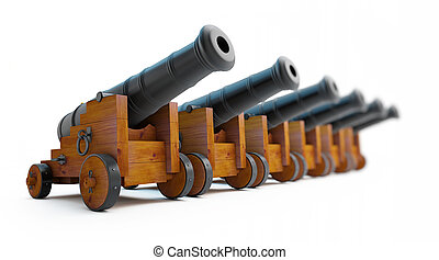 Old cannons row on a white background