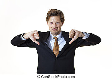 Unhappy businessman giving thumbs down - Unhappy businessman...