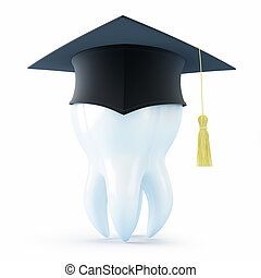 graduation cap tooth on a white background
