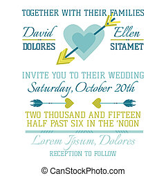Wedding Vintage Invitation - Heart and Arrows - for design,...