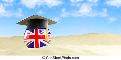 English language on holiday, graduation cap at the beach 3d...