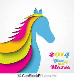 Year of the horse. Christmas and New Year card. Vector...