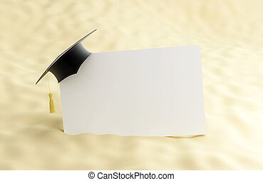 school at the beach, graduation cap blank 3d Illustrations