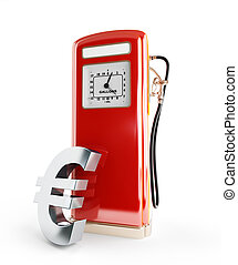 fuel price in euro 3d Illustrations on a white background