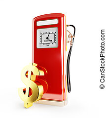 fuel price in dollar 3d Illustrations on a white background