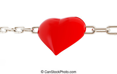 heart in chains 3d Illustrations on a white background