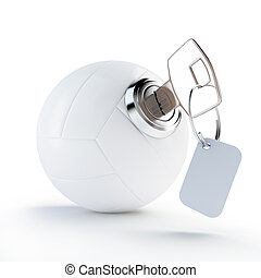 key volleyball ball on a white background