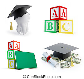 school set, graduation cap tooth on a white background