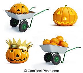 halloween pumpkins set on a white background
