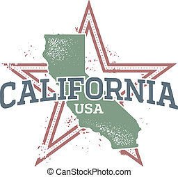 California USA State Stamp - Distressed Grunge California...